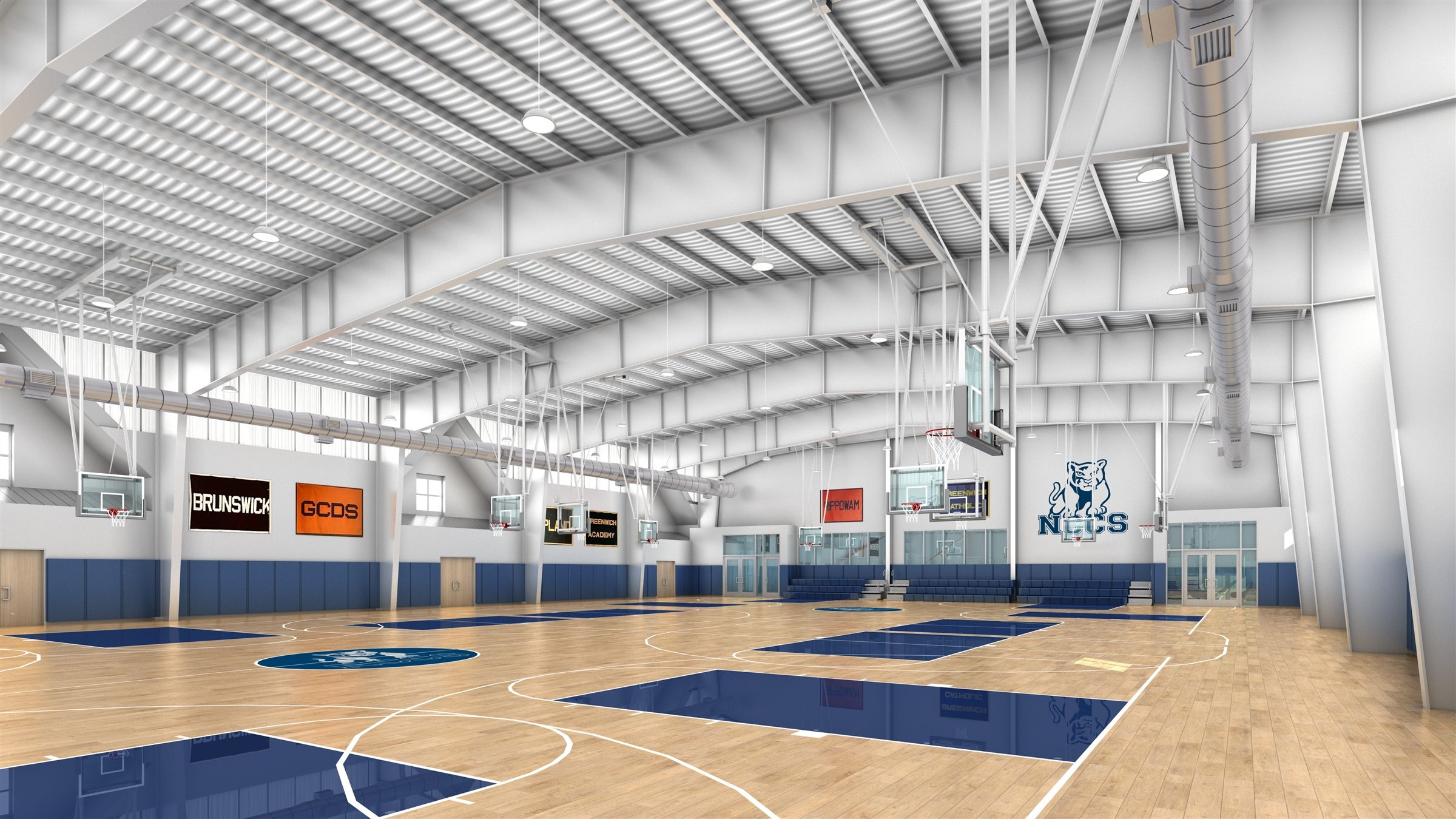The new facility includes two full-size basketball and volleyball courts (which can turn into four practice courts), four squash courts, an expanded fitness center and a dance studio, as well as large student locker rooms.