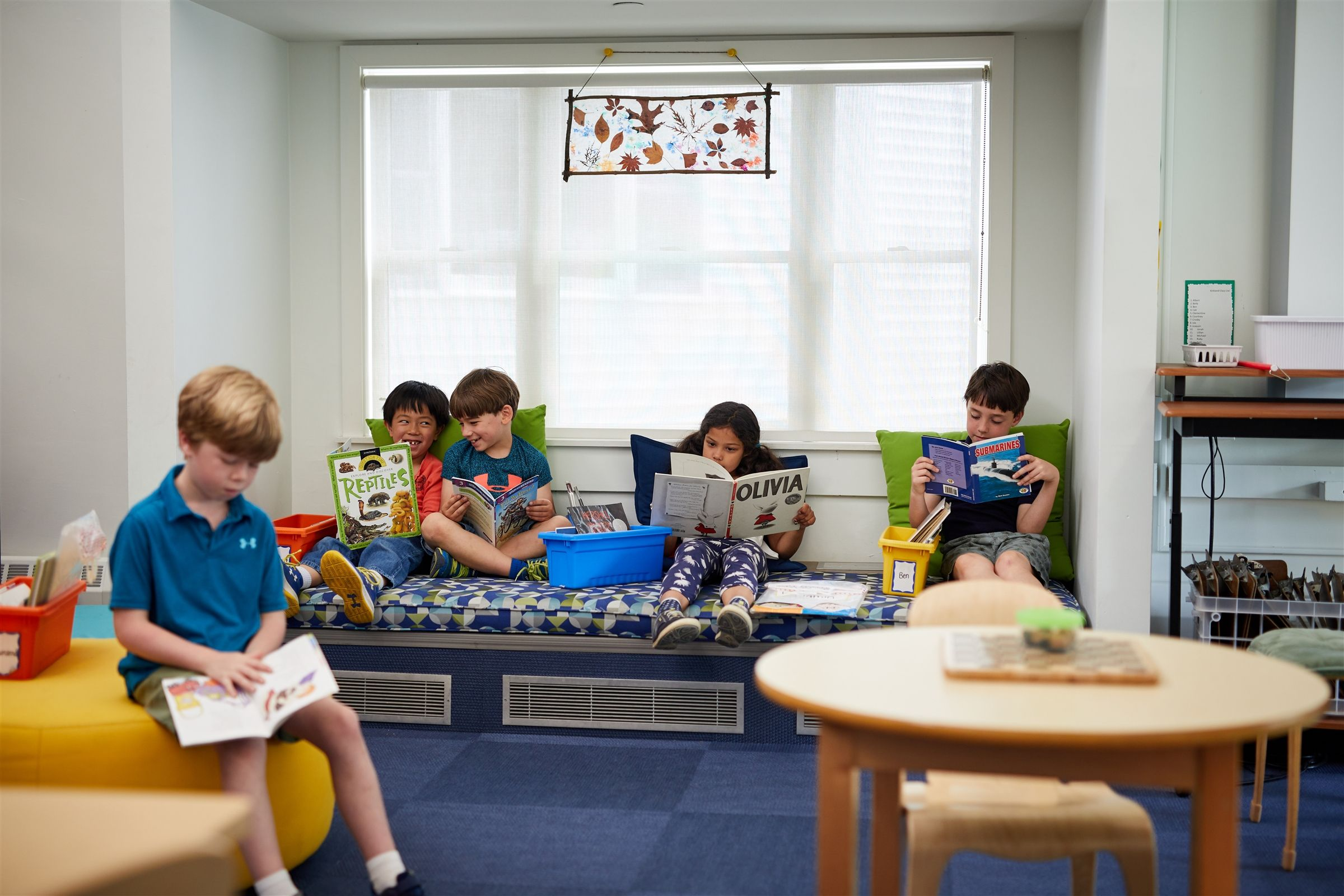 Pops of color, furniture designed for innovative learning, and child-friendly accents throughout rounded out the recent renovation.  And where reading is so central, there are plenty of cozy nooks in which to curl up with a book.