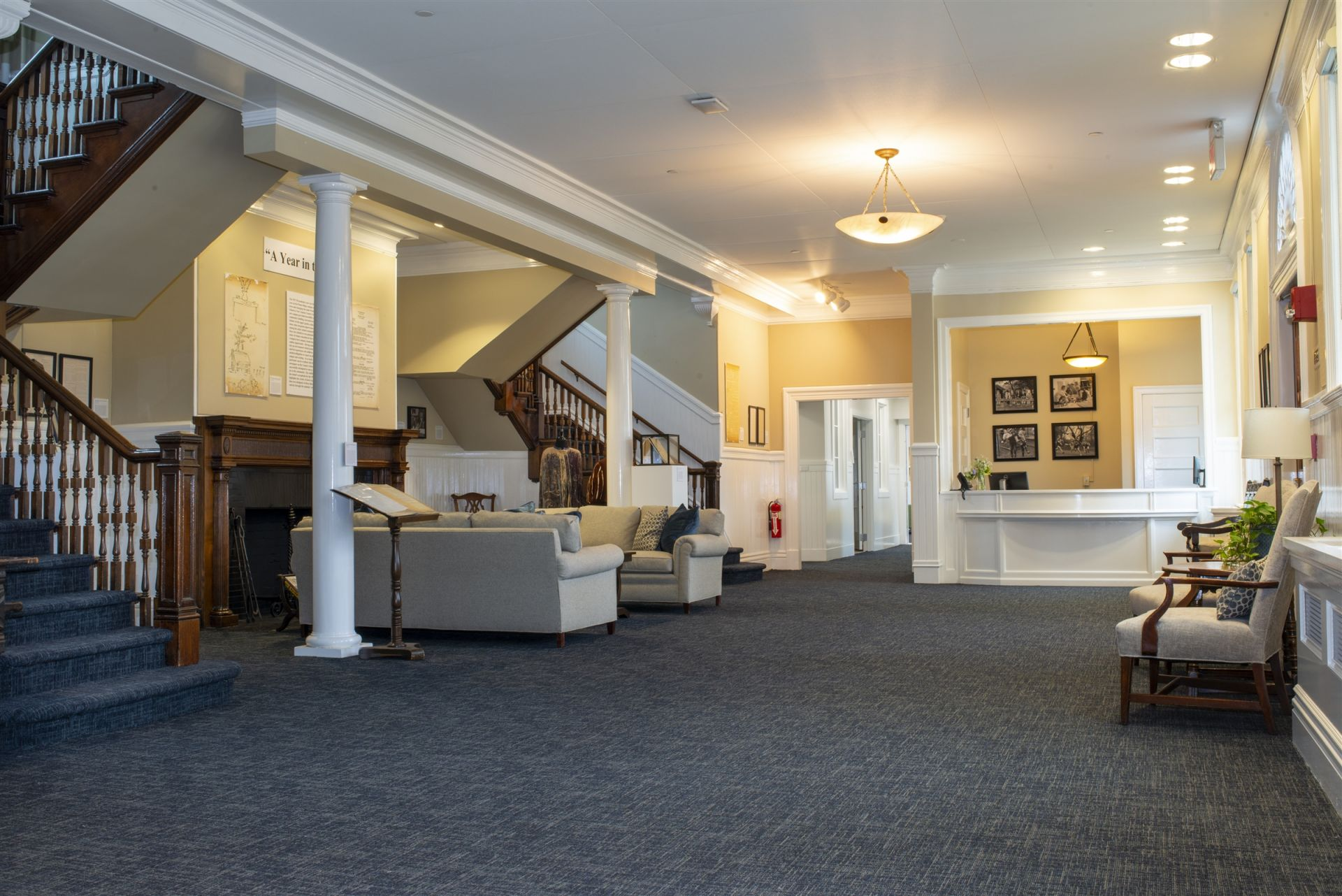 Grace House Lobby: The main lobby welcomes visitors, hosts student art displays, parent gatherings, and periodic historical exhibits from the school's archives.
