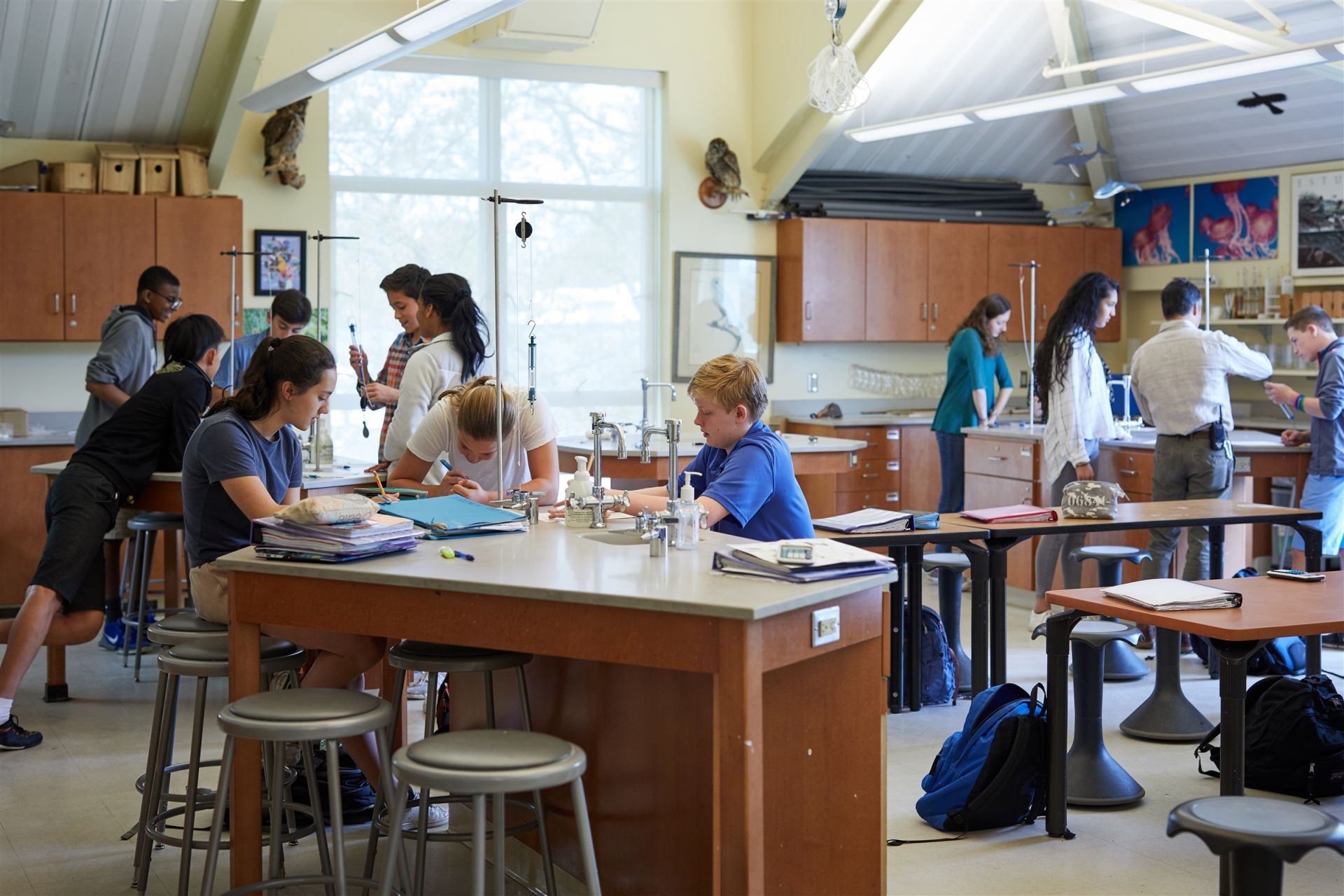 George E. Stevens building: This 41,000 square-foot facility features Upper School science classrooms with state-of-the-art equipment.  Classroom and lab work is complemented by field studies, both on campus and at regional sites.