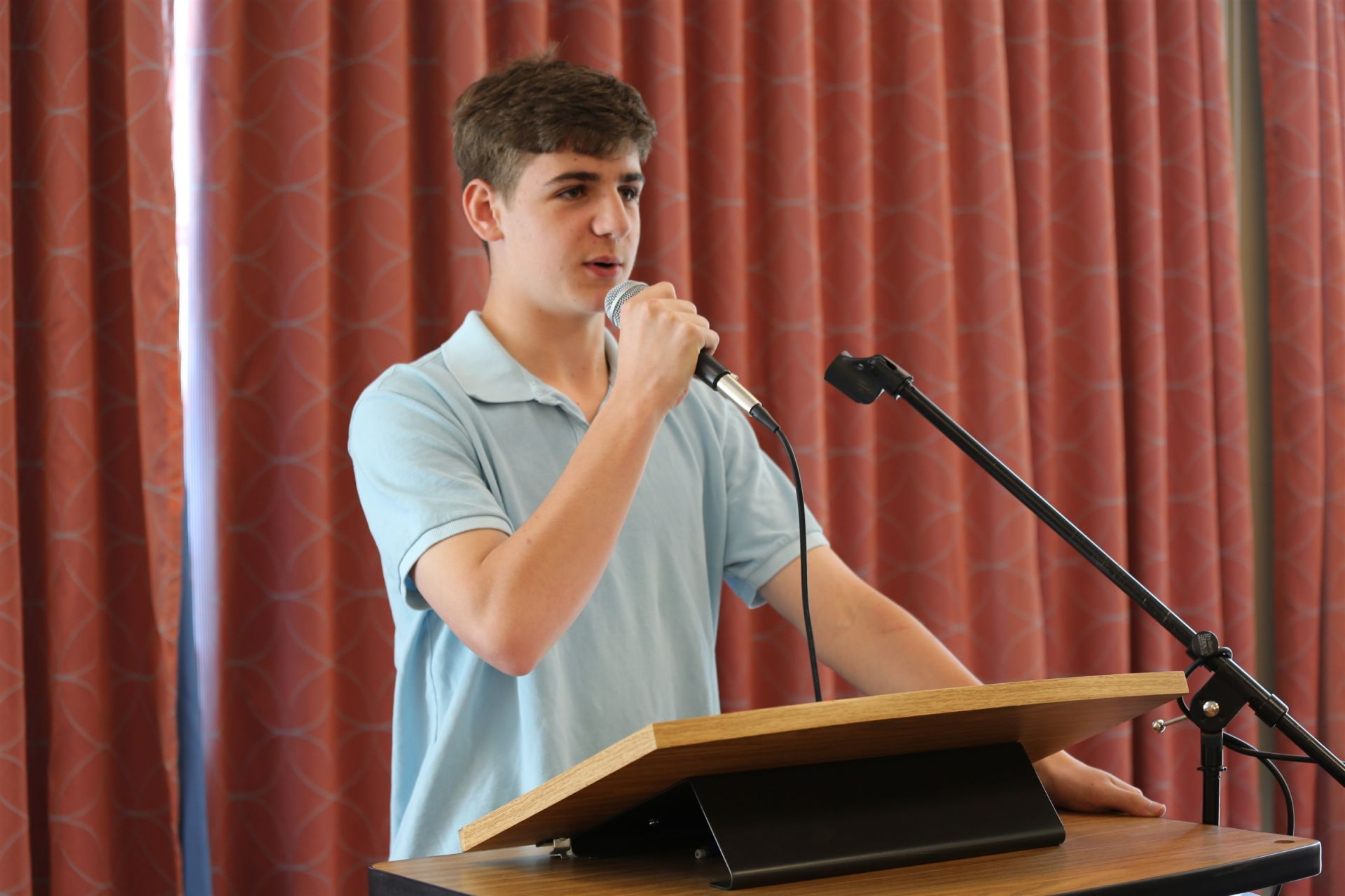 "Every ninth grader delivers a <b> ""This I Believe"" </b> speech to the entire Upper School in which they reflect on their values and experiences, while also showcasing their writing and public speaking skills."