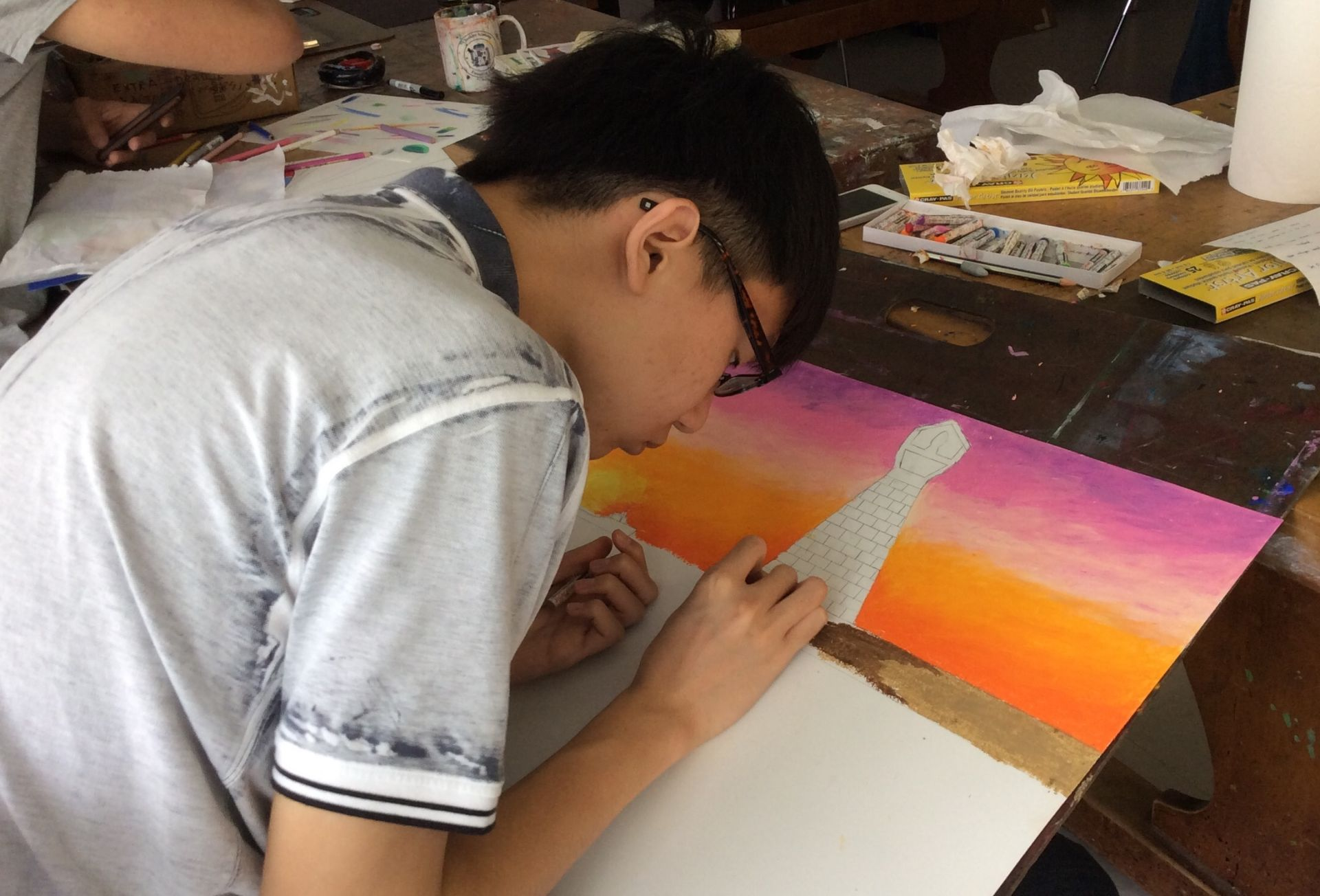 Art Majors work with a teacher in their specialty to develop a portfolio.