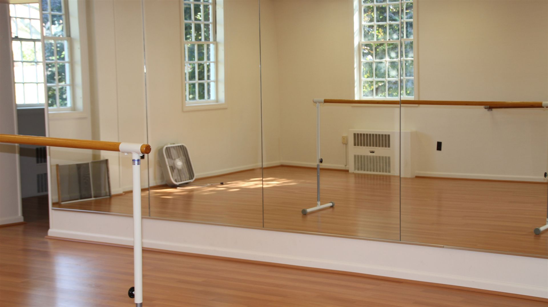 In a fully mirrored room complete with ballet bars, an experienced instructor will work with students on form, lines, and rhythm to create measured routines. This spacious area is a dedicated space for dancers to practice and perform their work in a collaborative setting.