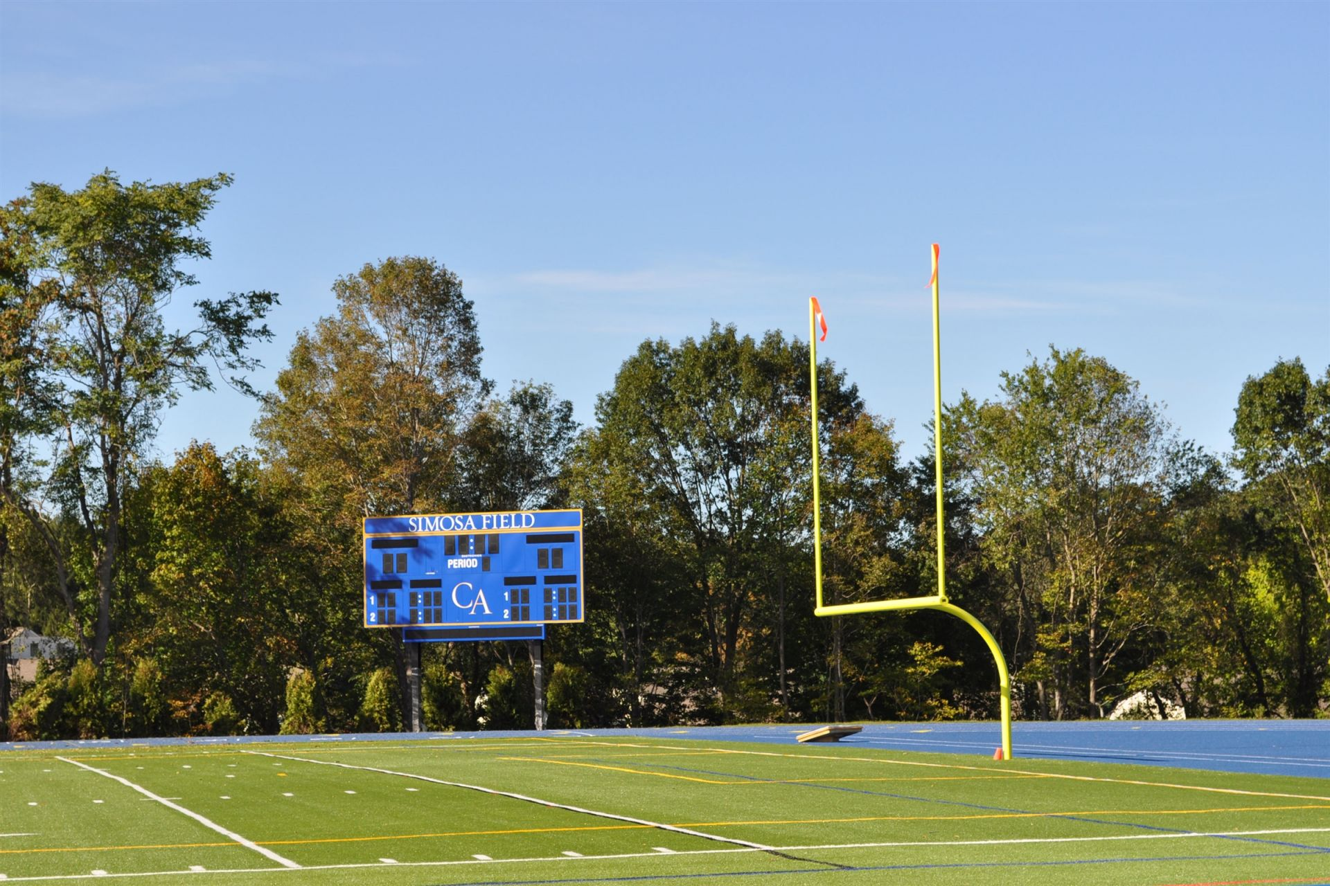 Simosa Field is a state-of-the-art turf field accommodating football, boys and girls soccer, field hockey, boys and girls lacrosse, and track. The turf allows for lower maintenance costs, increased playability, fewer injuries, and saves water.