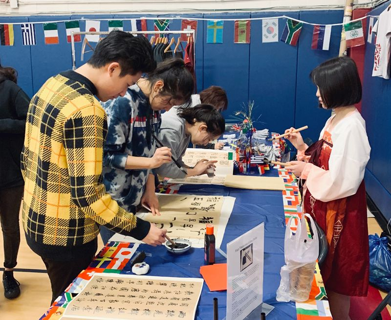 Chinese calligraphy table at International Night