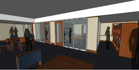 Rendering featuring the Class of 2016 Senior Class Gift project, which is the construction of two small rooms in the West end of the Upper School Library for students to work in groups.