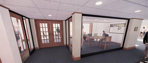 Rendering featuring the proposed Upper School Library enhancements made possible by the Class of 2020 Senior Class Gift.