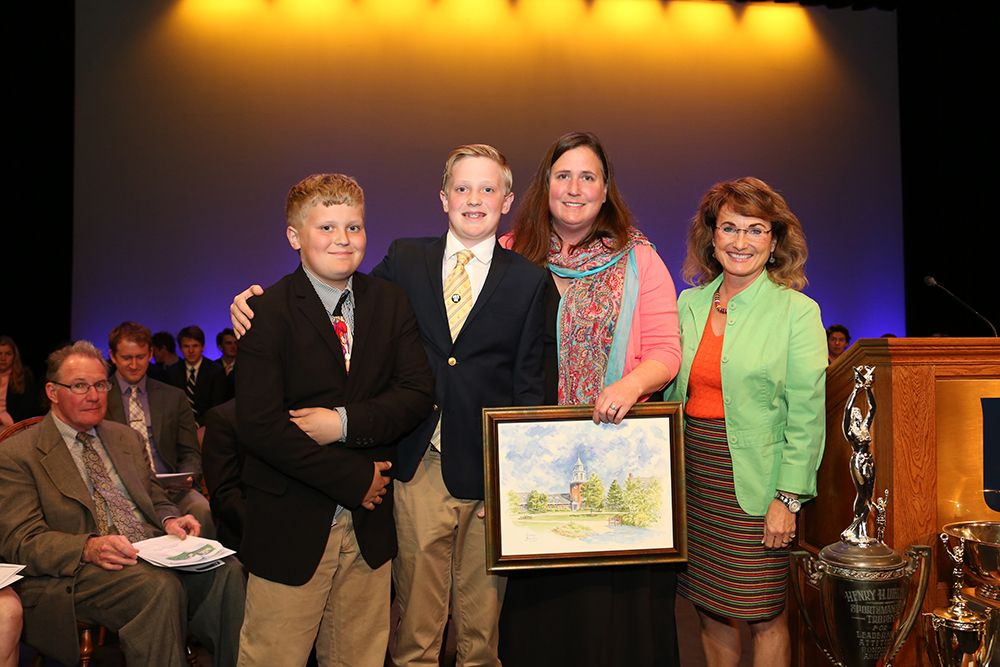 The family of Tom Parker '79 (Ian '23, Hatton, and Elizabeth Parker), 2015 Alumni Service Award