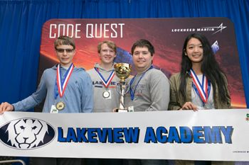 "In 2018, Lakeview's coding team won 1st place at ""Code Quest"" Coding Competition hosted by Lockheed Martin"