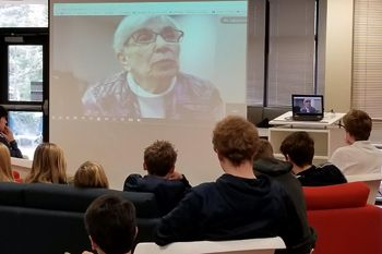 In cooperation with the U.S. Holocaust Memorial Museum, a Holocaust survivor shared her experiences via Skype with Upper School English students who were studying the novel,