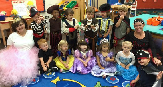 Learning is fun! To reinforce their curriculum,  preschool has special dress days such as princess & pirates day, disco day, and silly sock day.