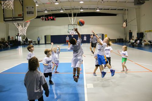 Students are exposed to the basic elements of basketball through Biddy Ball (K4 and Kindergarten) games in January.
