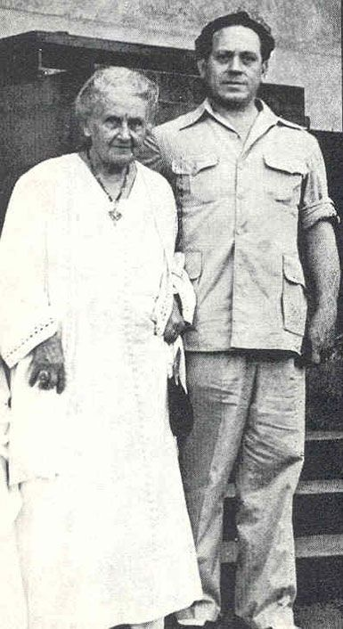 Montessori was training teachers in India in 1940 when hostilities broke out between Italy and Great Britain. During her internment in Kodaikanal, she worked with her son, Mario Montessori, to develop much of the elementary curriculum.
