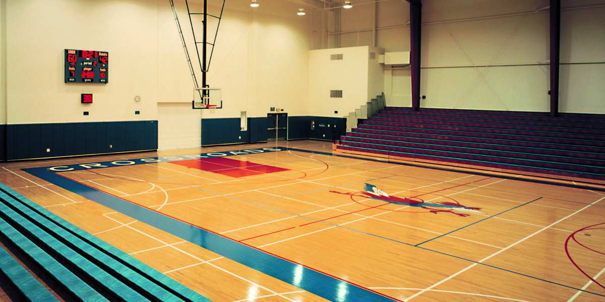 The Crossroads gymnasium is used extensively by all groups within the community for classes, competitions and other school-wide events.