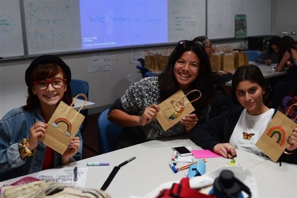 Crossroads students designed and assembled bags of school supplies for elementary school children.