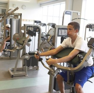 The fitness center is an open, light space that is very popular among students and faculty. Recently, flat-screen televisions have been installed above the cardio machines.