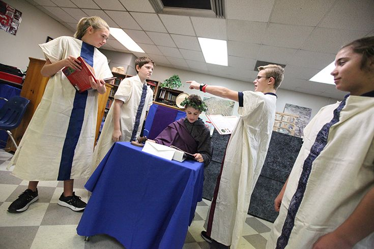 Trinity School of Midland Latin students reenact a moment in history.