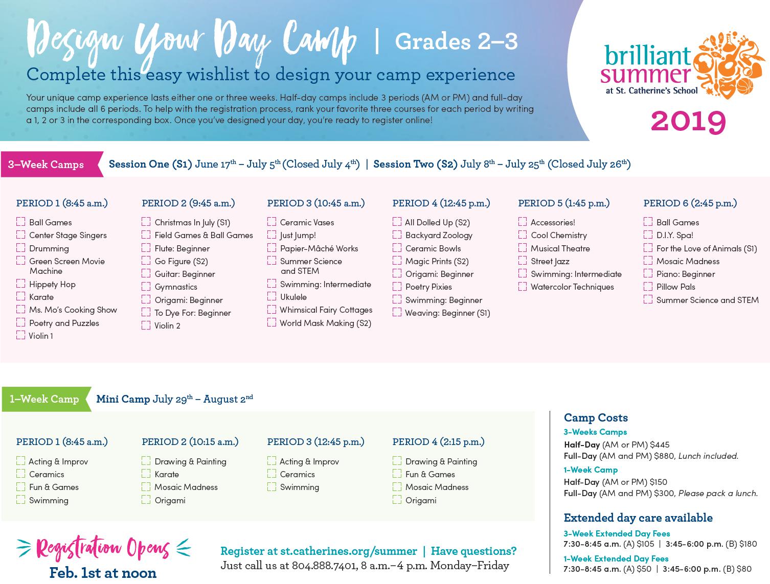 b2b760979 St. Catherine's School | Design Your Day Camp