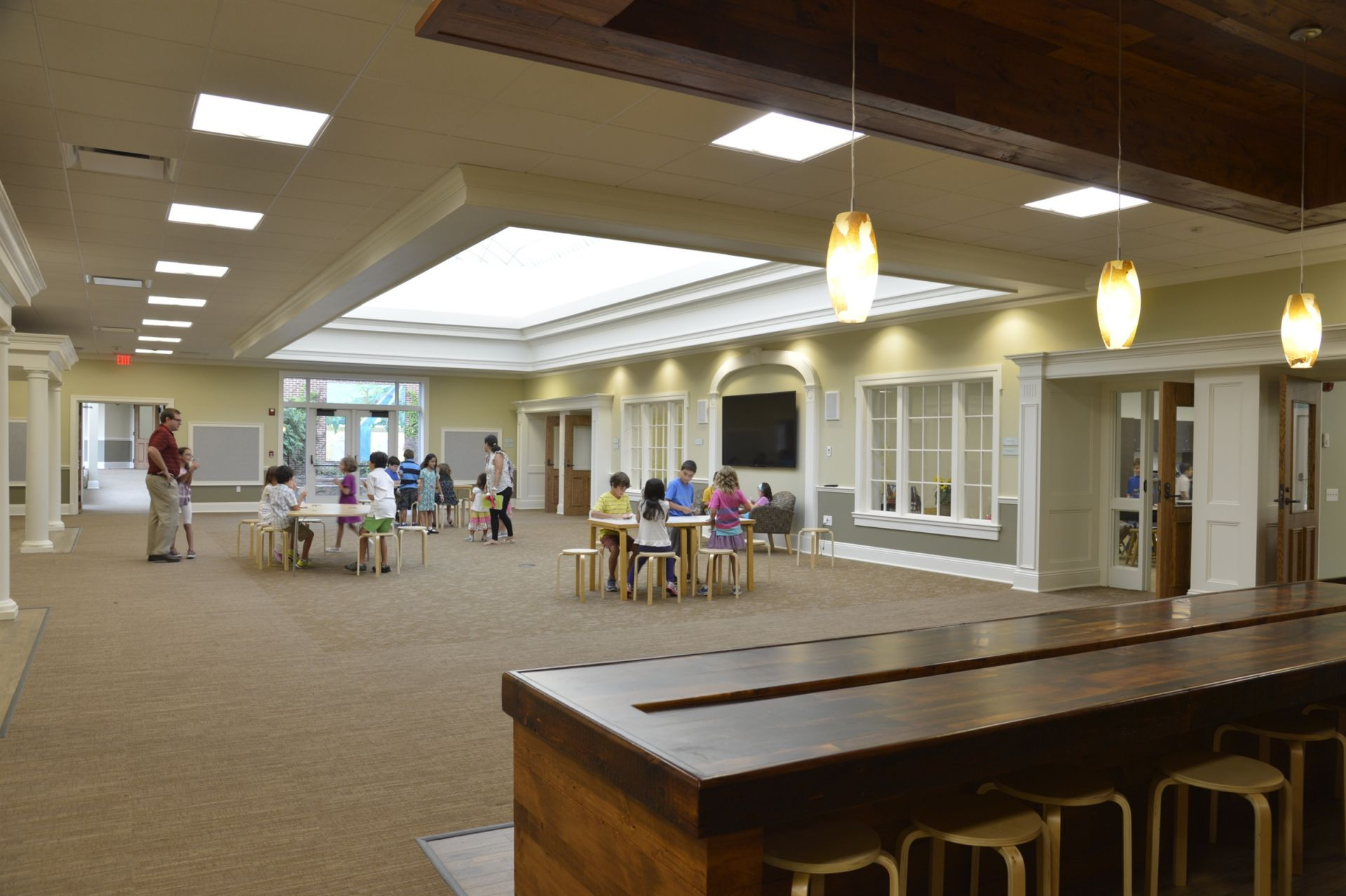 Hurwitz Hall is surrounded by 2nd and 3rd grade classrooms that look into the common space.