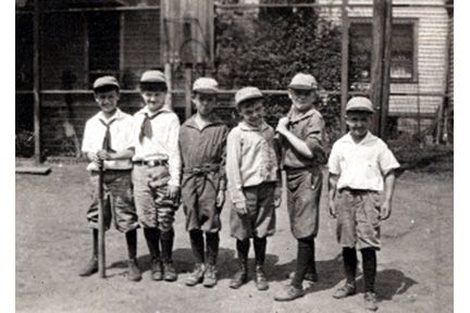 1588 Ansel Road. Six small unidentified boys in caps.