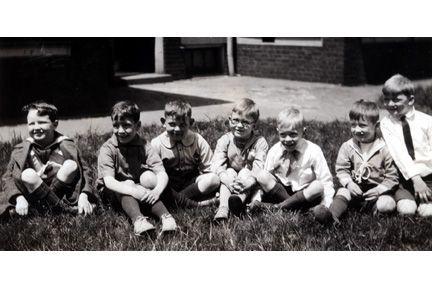 2026 E. 96th St., Hawken Primary School. L-R: Allan House, Henry Williams, Billy Calfee, Harold Cole, Peter Hitchcock, Malcolm Vilas, Jimmy Mathews, June 1924.