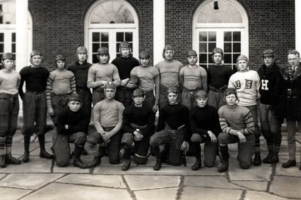 1924 Football team, Bolton Hall. People: Unidentified, but signatures on back of Charles B. Bolton, Andrew Ford, Edward Maeder, William Weir, G. Webster, George Bauman, F.S. Morrill, John Rea, William P. Nash, D. Weir, F. Taplin, Clarence A Collens III !?! Dorg!!!, R.W. Baker, Steve Burke.
