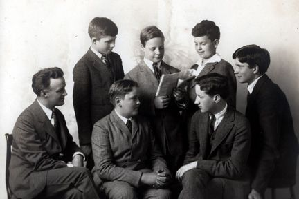 James A. Hawken with students.
