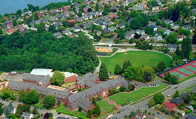 Annie Wright Schools are situated on ten acres overlooking Commencement Bay in the historic Old Town district of North Tacoma. Adjacent to the campus are Garfield Park and Tacoma Lawn Tennis Club, both of which partner with AWS to provide extended facilities for the school's athletic programs.