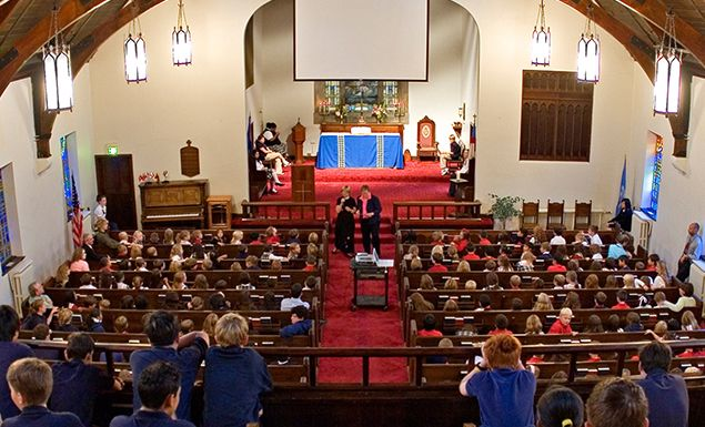 Raynor Chapel is an all-school gathering space for weekly chapel services and special events.