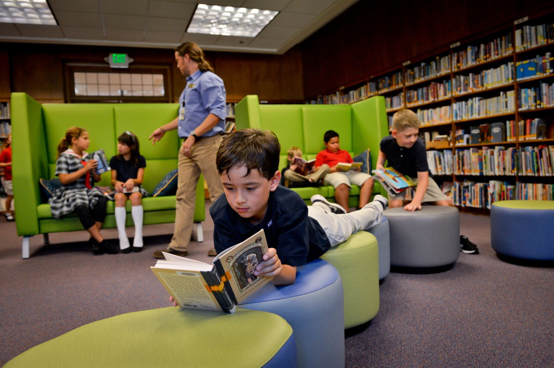 Fun, flexible modular furniture inspires a love of reading.