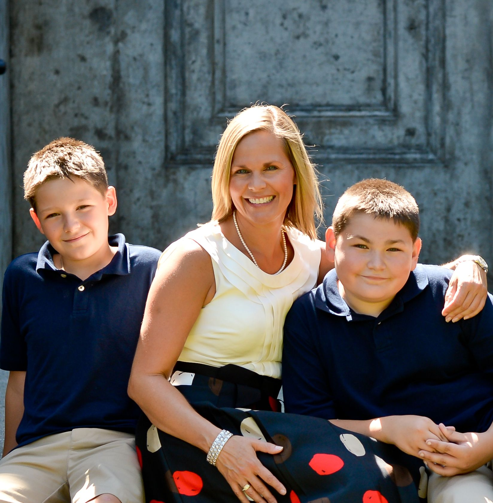 Jennifer with her sons Logan (Class of