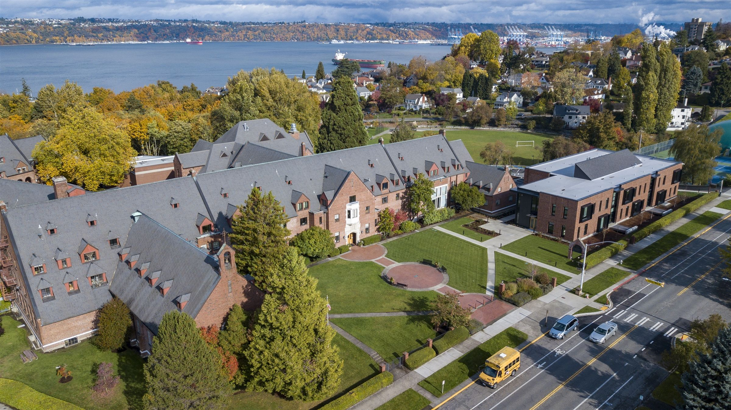 Annie Wright Schools are situated on ten acres overlooking Commencement Bay in the historic Old Town district of North Tacoma.