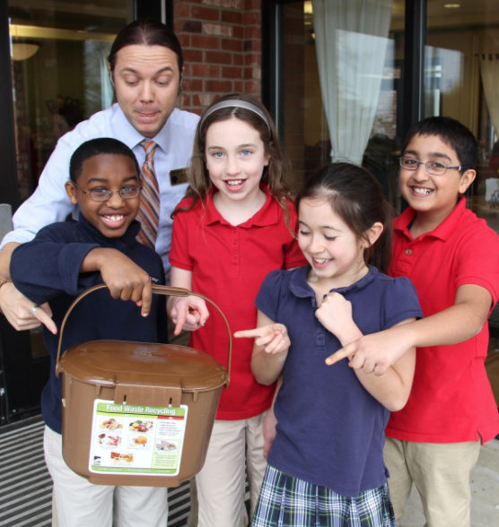 Grade 4 students run a comprehensive composting program.