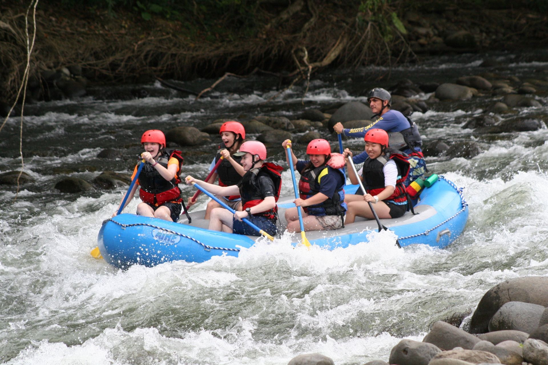 Middle School Students white water rafting