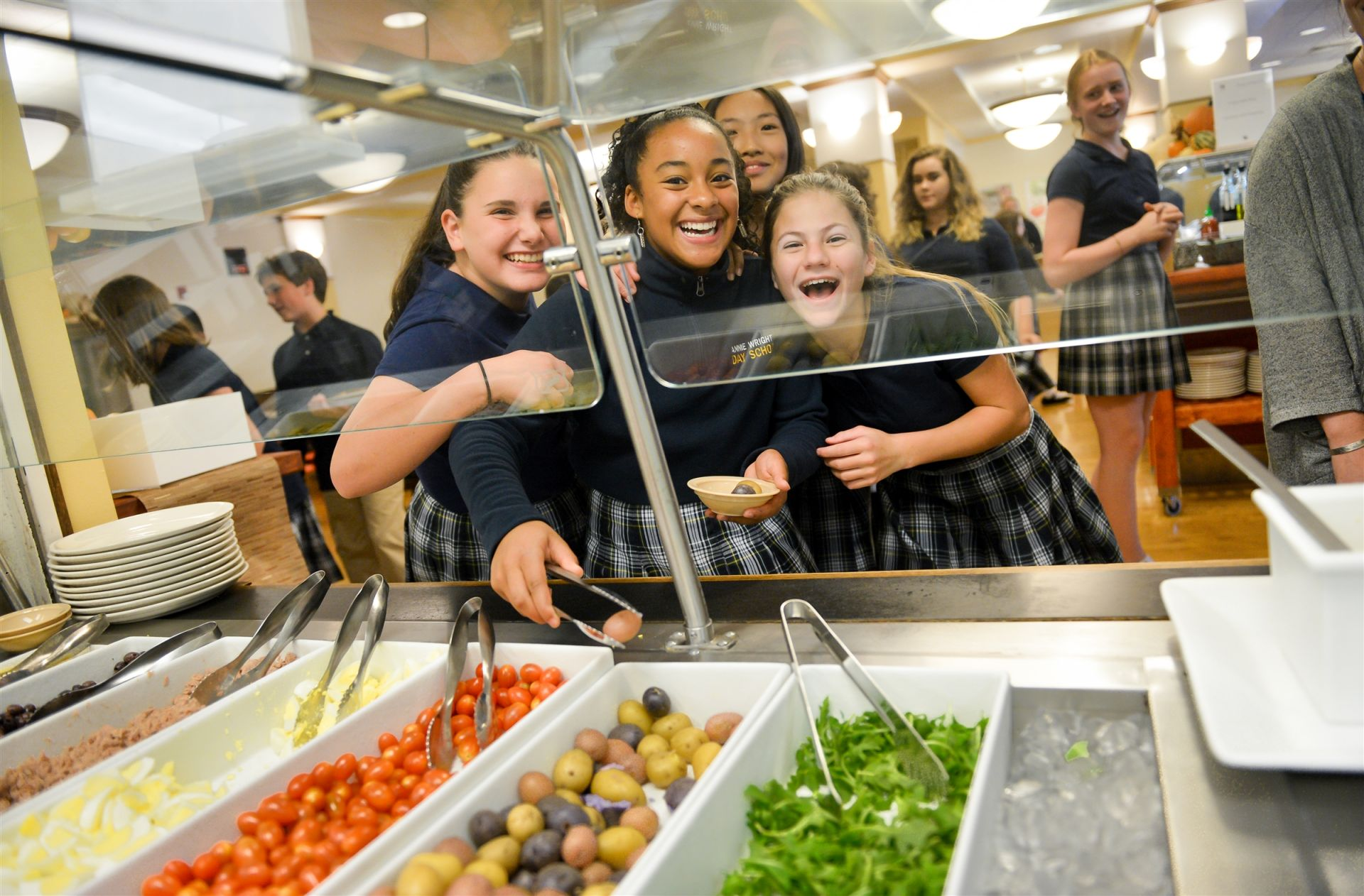 Students of all ages enjoy the free salad bar.