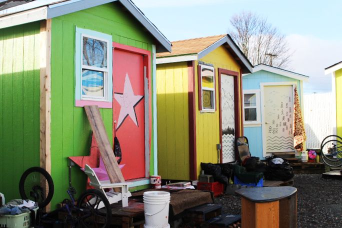 The tiny house was built for Nickelsville Georgetown Tiny House Village in Seattle.