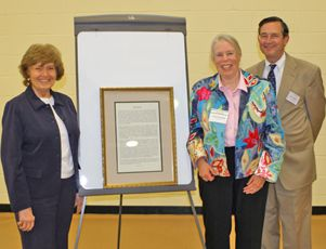 2012: Pickett Randolph'56 receives the McGuire Award from Head of School Mary Louise Leipheimer (left) and Board President Stuart Thayer,.