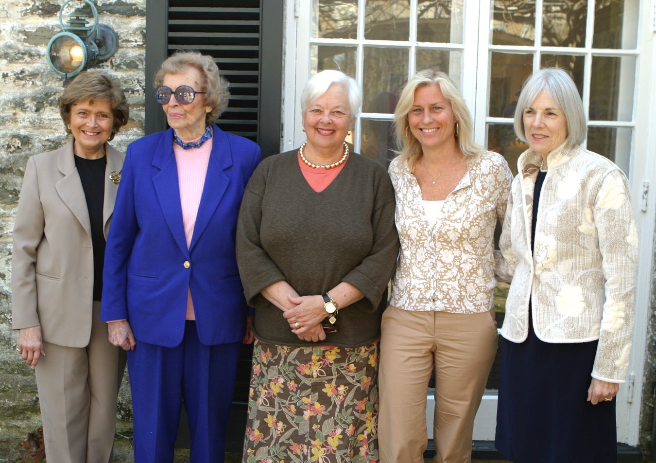 Five AKM Award winners gather at Covert. From left they are: Mary Louise Leioheimer, Nany Redmond Manierre. Axie Diana '60, Sally Bartholomay Downey '78 and Beth Lamond.