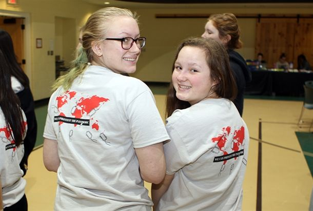 Emma L. '20 and Larisa B. '20 show off the fabulous shirts designed by Teagan S. '21.