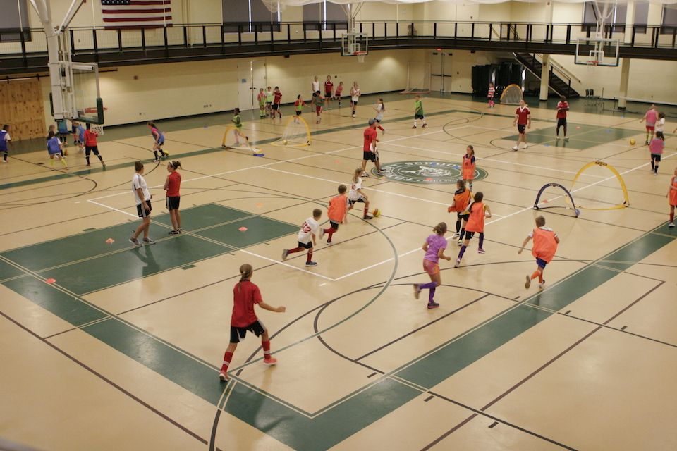 Within the Athletic/Student Center, you'll find a wood-floor competition gym and a poured-rubber double gym (pictured), perfect for athletic camps or tournaments.