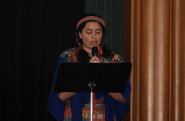 Paola A. '18 read <em>Ballad of the Two Grandfathers</em> by Cuban poet Nicolás Guillén.