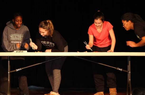 The ever-popular Chopstick Challenge was a close race, but seniors Jacina H-B. and Maddy G. won by just a few Skittles!