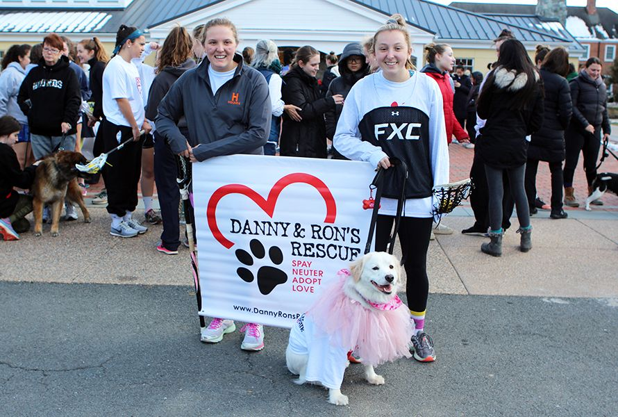 Betsy, pictured here with her human sisters Harriet B. '21 and Seabrook B. '19, is a Danny and Ron's Rescue dog! This Walk was especially meaningful to her and her family.