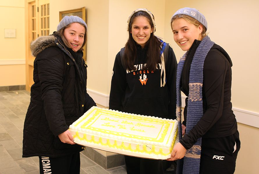 . . .and Fox Captain Leah S. '19 accompanied Big Team Captains Allie M. '20 and Louise W. '20 to the Hound Room.