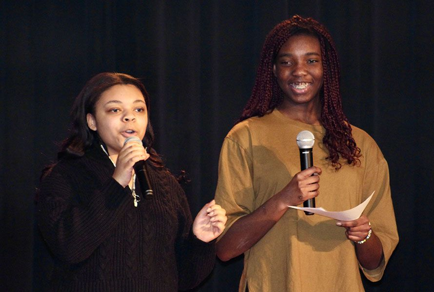 Sophomores Marlow B. and Chelsie E. served as the evening's emcees.