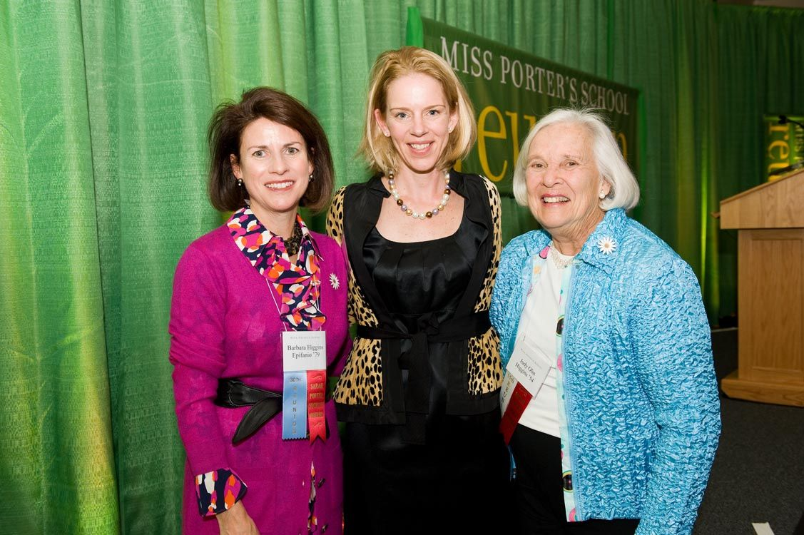 Barbara Higgins Epifanio '79, Head of School Kate Windsor, and Judy Higgins '54.