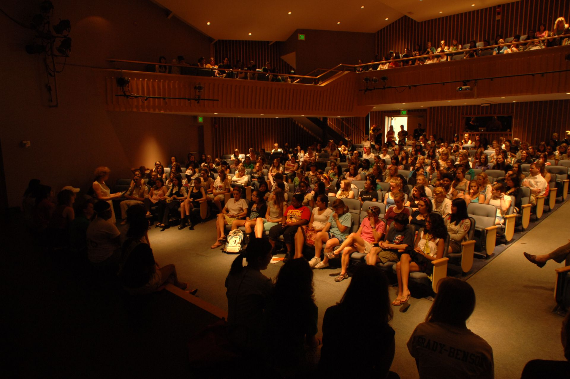 Interior of Hacker Theater during morning meeting