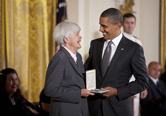 Elizabeth Cushman Putnam '51, founder and president of the Student Conservation Program, pictured receiving the Presidential Citizens' Medal from President Barack Obama (photo courtesy of The White House).