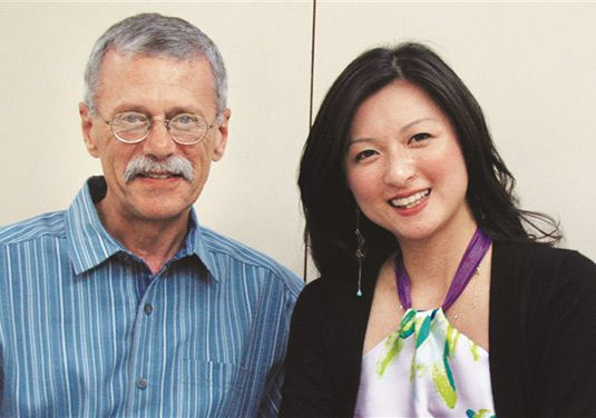 Pee Fong (May) Lim '99, junior specialist at Bonhams 1793, pictured with former teacher Alan Sherman.