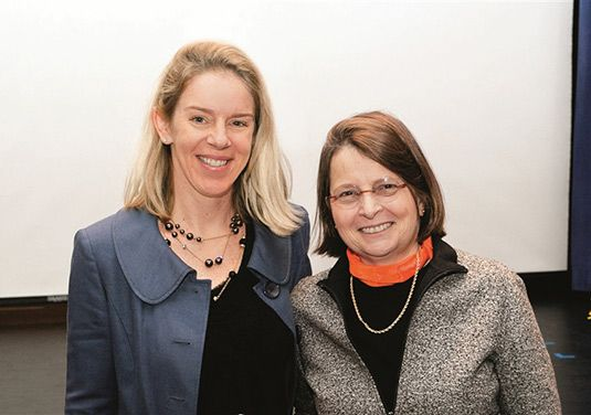 Dr. Louise Stevenson '66, professor of history and American studies; Sarah Porter scholar and author, pictured with Head of School Dr. Kate Windsor.